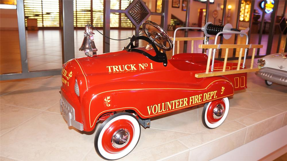 Reproduction 1950's Volunteer Fire Department pedal car fire truck. - Front 3/4 - 179687