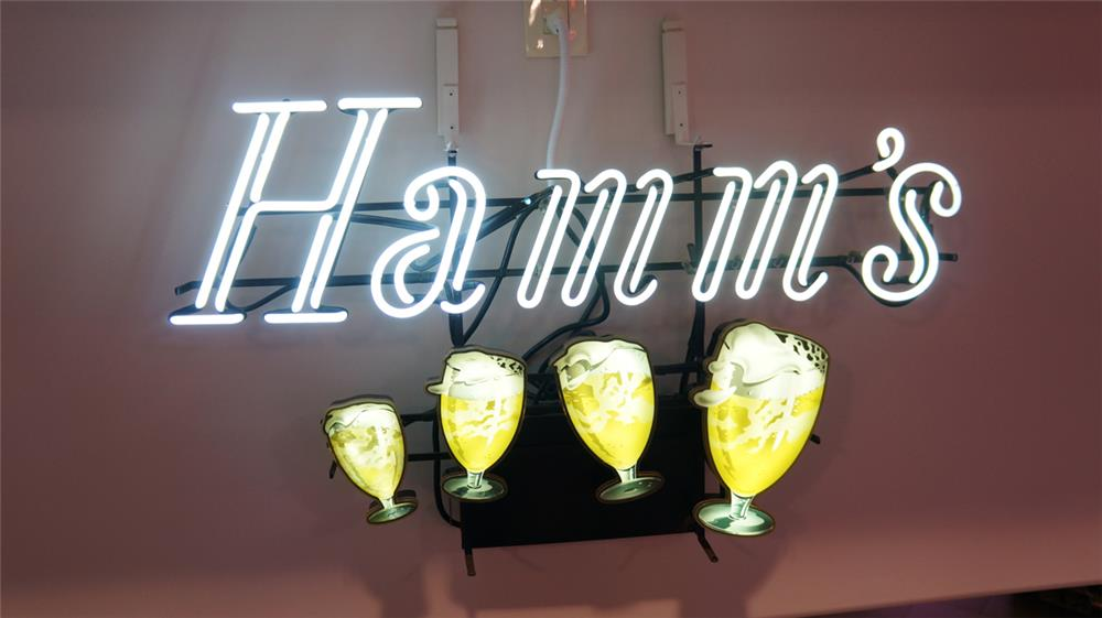 Seldom seen 1950's Hamm's Beer floating mugs light-up tavern neon sign. - Front 3/4 - 179701