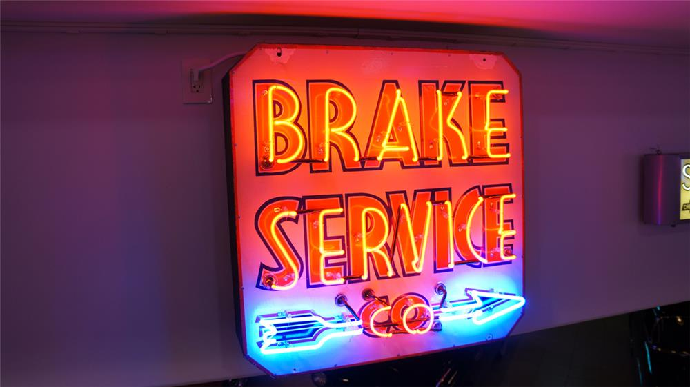 1930's-40's Brake Service Company single-sided porcelain with neon automotive garage sign - Front 3/4 - 179703