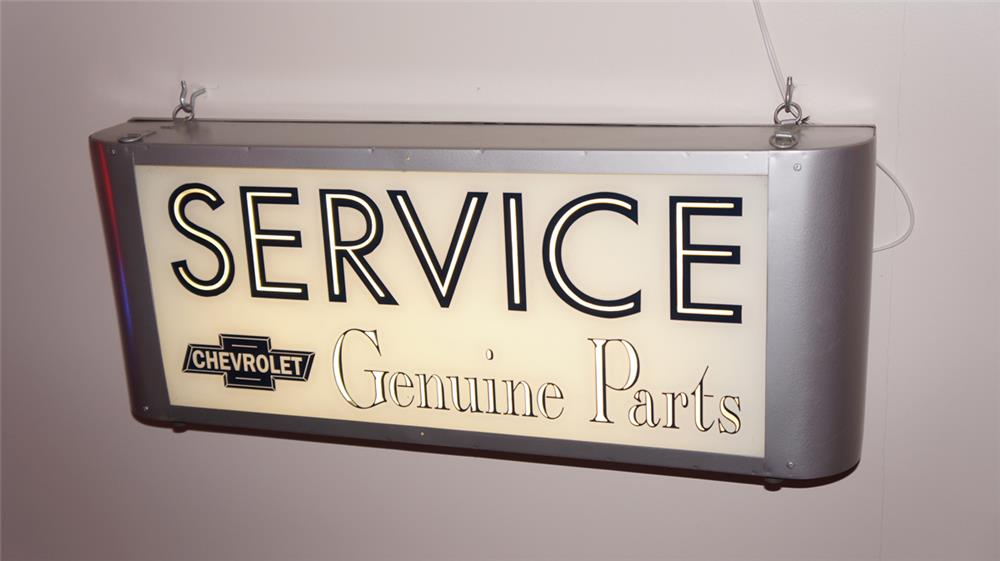 Vintage restored Chevrolet Genuine Parts light-up service department sign. - Front 3/4 - 179712