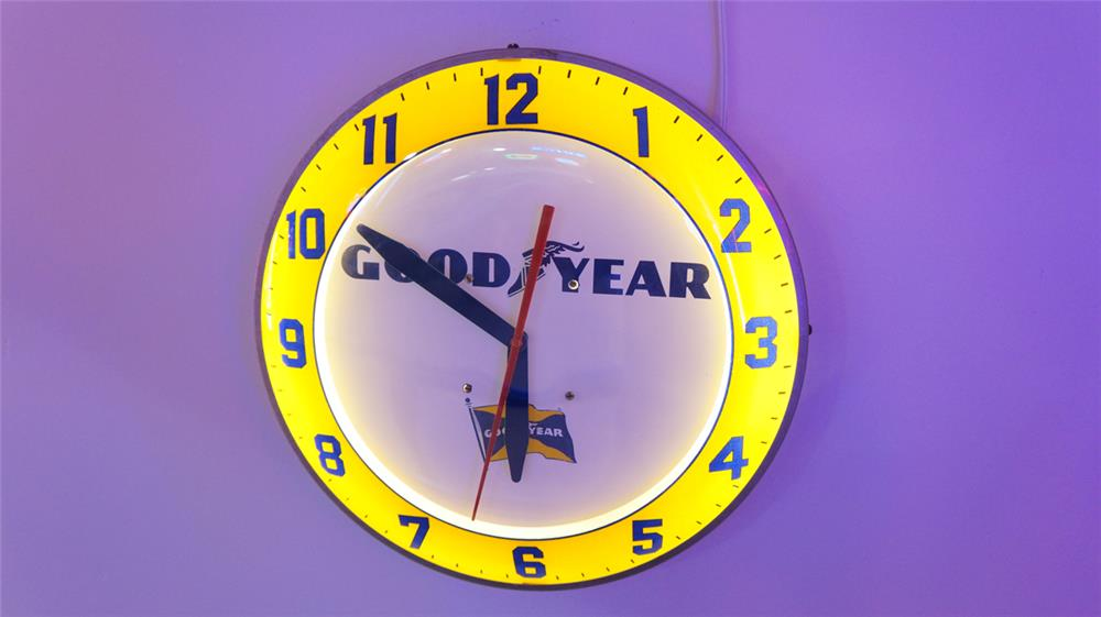 1950's Goodyear Tires light-up automotive garage clock. - Front 3/4 - 179714