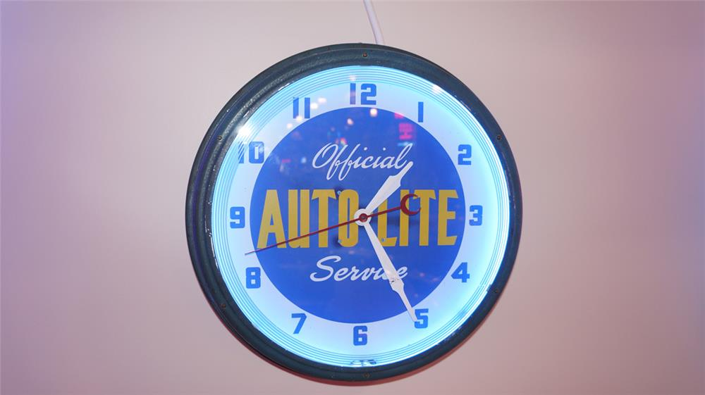 All original 1930's-40's Auto-Lite official service neon automotive garage clock. - Front 3/4 - 179718