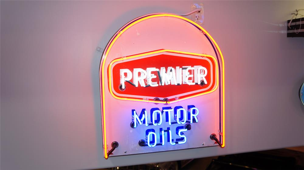 1950's Premier Motor Oil of Dallas single single-sided porcelain with neon service station sign. - Front 3/4 - 179727