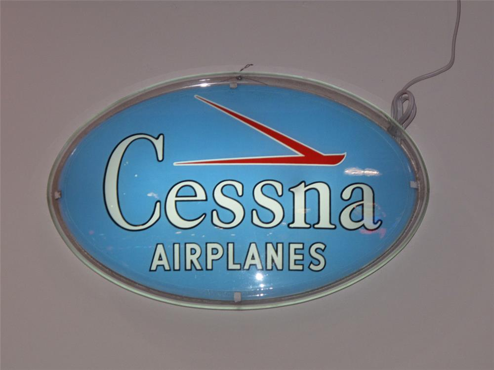 Late 1950' s-early 60's Cessna Airplanes light-up airport sign. - Front 3/4 - 179728