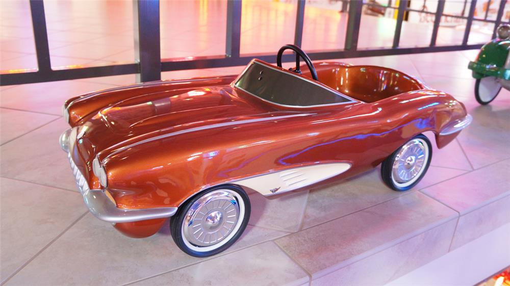 Worthy of bragging rights 1958 Corvette sting ray pedal car by Eska. - Front 3/4 - 179729