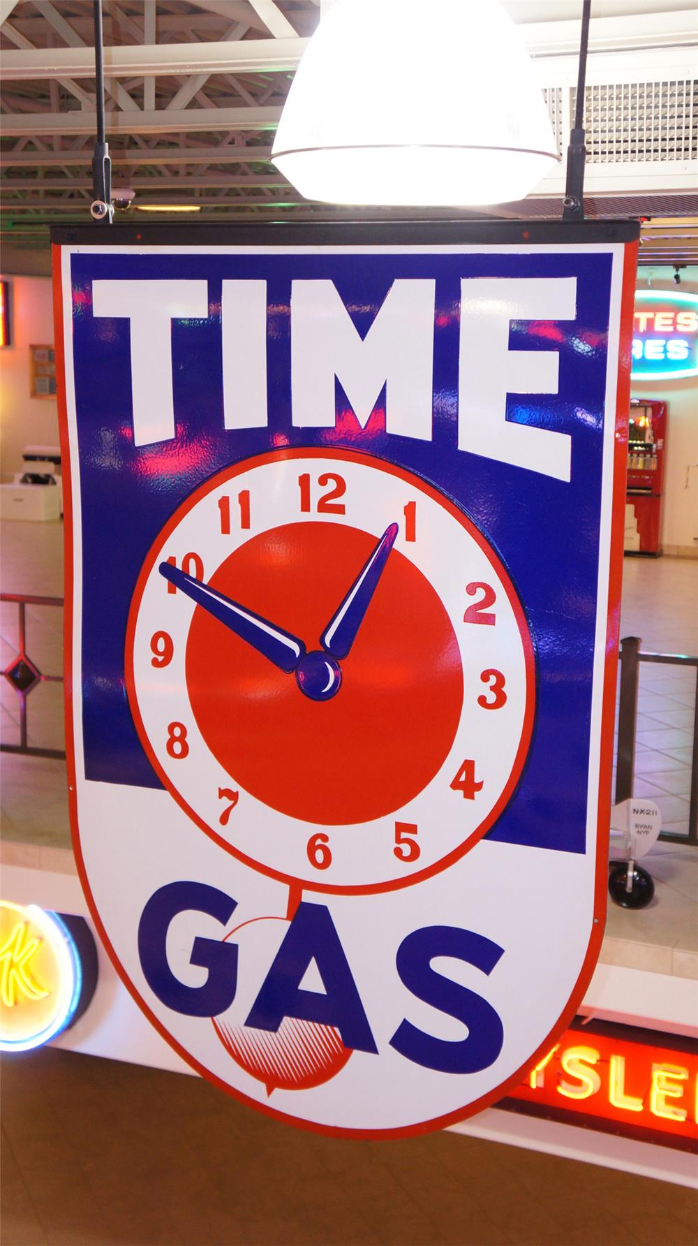 N.O.S. Superlative and large 1940's Time Gas double-sided porcelain service station sign. - Front 3/4 - 179735