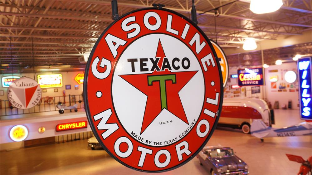 1935 Texaco Gasoline - Motor Oil double-sided porcelain service station sign. - Front 3/4 - 179738
