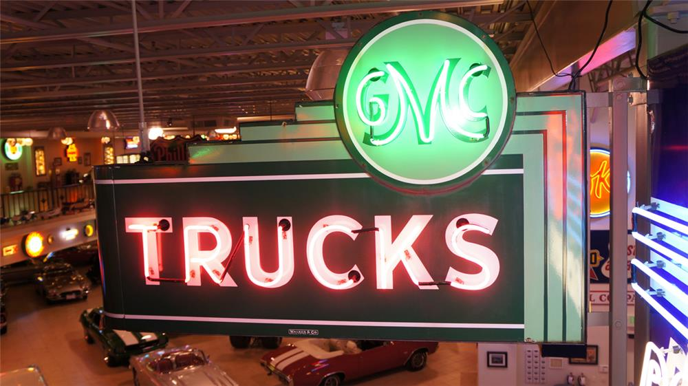 1930's-40's GMC Trucks double-sided porcelain neon dealership sign - Front 3/4 - 179742