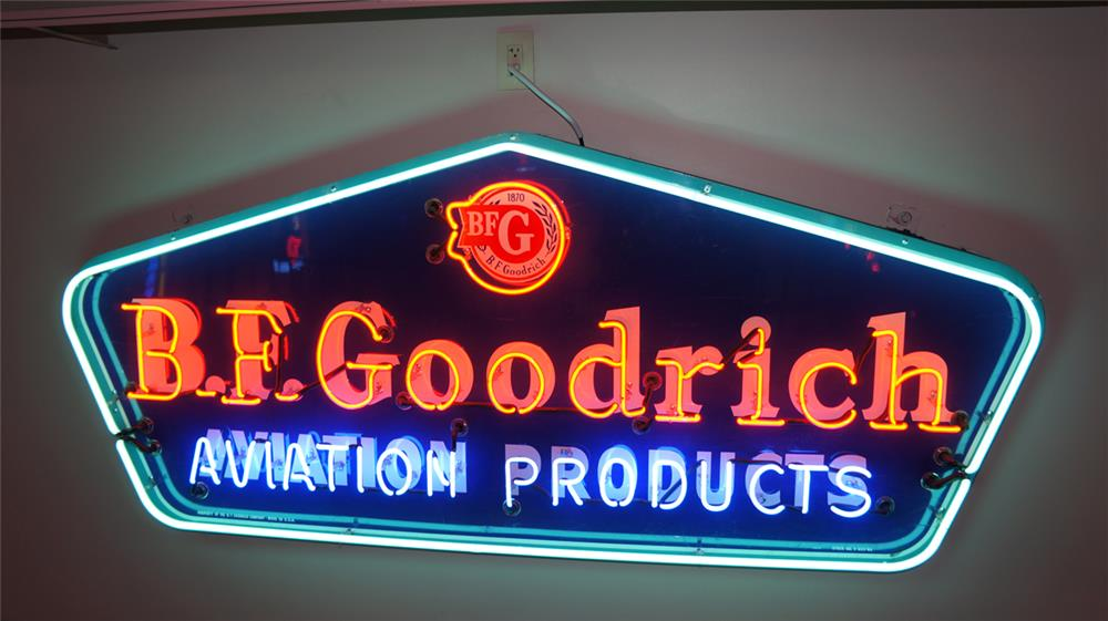 1955 B.F. Goodrich Aviation Tires single-sided tin airport hanger sign with neon. - Front 3/4 - 179747