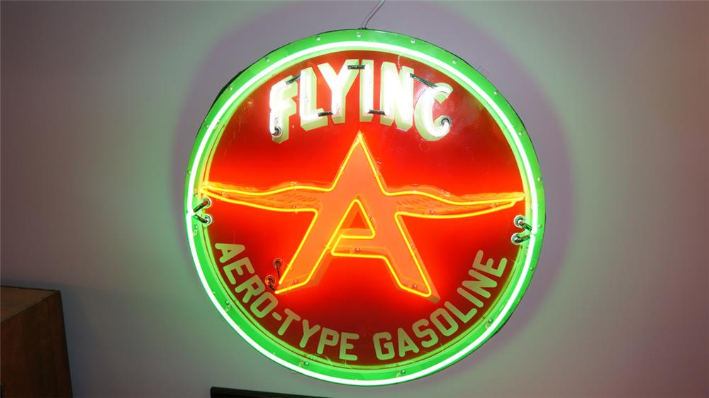 1930's restored Flying A Aero-Type Gasoline single-sided porcelain with neon sign. - Front 3/4 - 179749