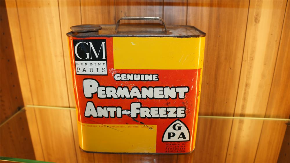 1940's GM Permanent Anti-Freeze half gallon tin. - Front 3/4 - 179754