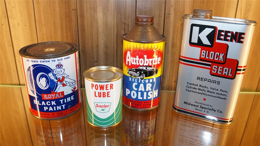 Lot of four various period garage tins - Front 3/4 - 179755