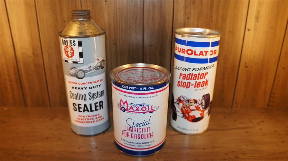 Lot of three 1950's-60's automotive garage tins - Front 3/4 - 179756