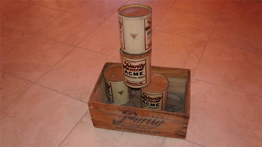 Lot of four 1930's Purity Transmission Grease tins with the Independent Oil logo. - Front 3/4 - 179766