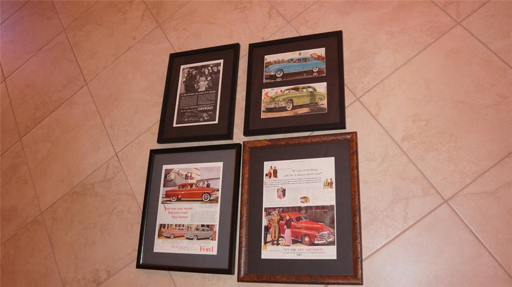 Lot of four 1930's-50's Automotive framed advertisements for Chevy, Ford and Kaiser. - Front 3/4 - 179770