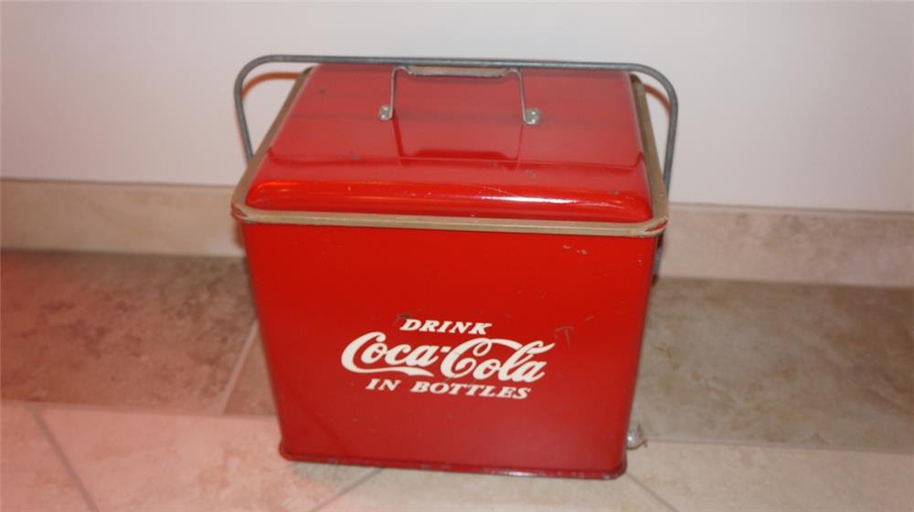1950's all original Coca-Cola picnic cooler. - Front 3/4 - 179780
