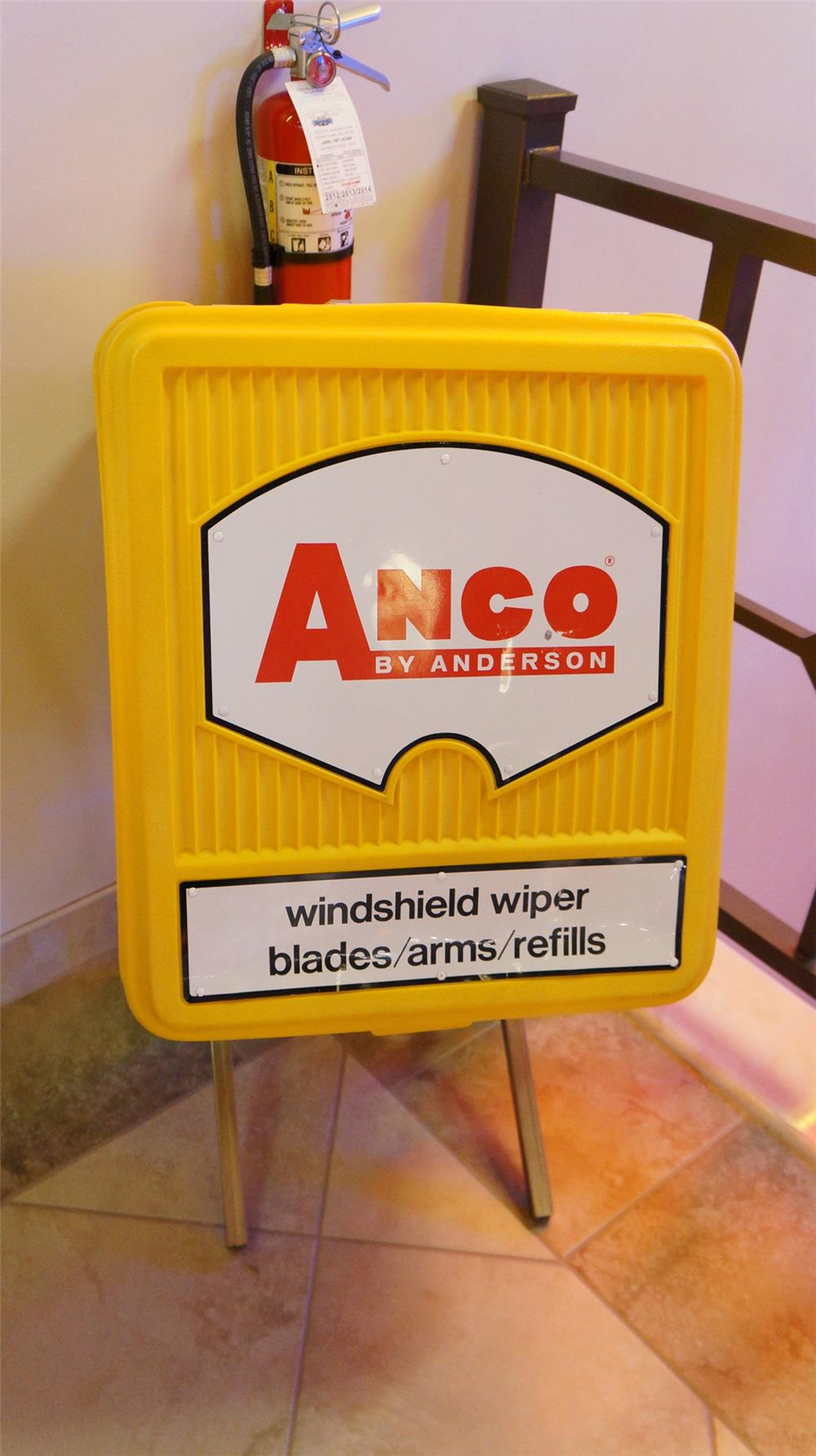 Late 1960's-early 70's Anco Windshield Wiper Blades service station fuel island display cabinet. - Front 3/4 - 179787