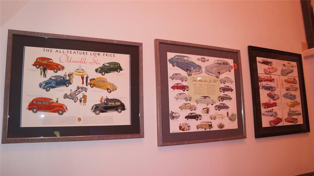 Lot of three framed Showroom sales brochures for 34 Olds, 1950 Chevy and 1957 Olds. - Front 3/4 - 179789