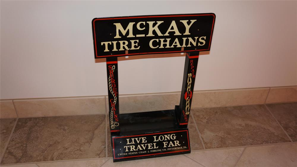 N.O.S. late teens-early twenties McKay Tire Chains filling station counter-top metal display. - Front 3/4 - 179799