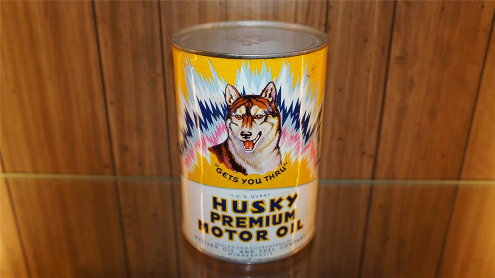 Killer 1940's Husky Premium Motor Oil quart can with Husky dog graphic. - Front 3/4 - 179801