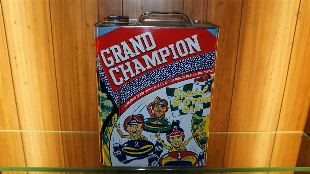 Nifty 1950's Pep Boys Grand Champion two gallon metal oil tin - Front 3/4 - 179806