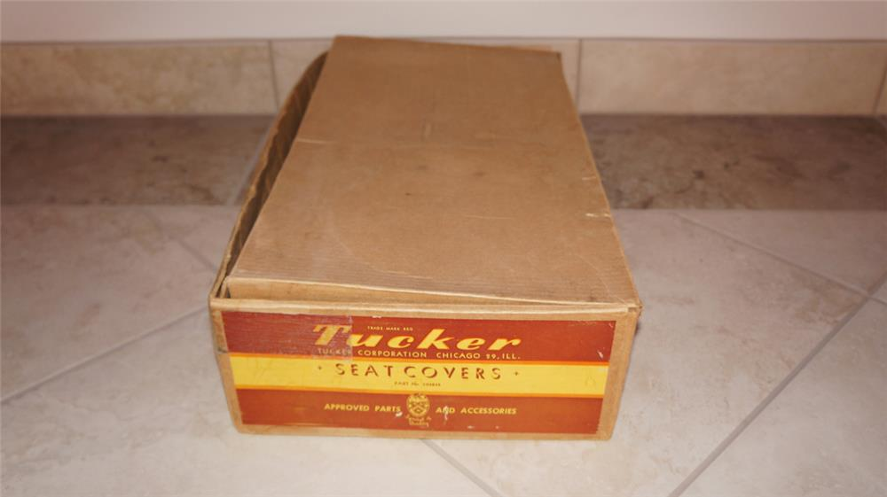 Set of original 1948 blue colored Tucker Seat Covers in the original box. - Front 3/4 - 179829