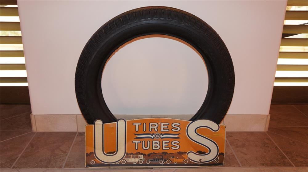 Stunning 1920's U.S. Tires and Tubes metal display with tire. - Front 3/4 - 179830