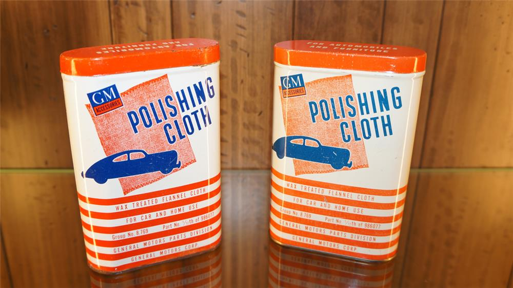 Lot of two 1940's-50's GM Polishing Cloth tins. - Front 3/4 - 179833