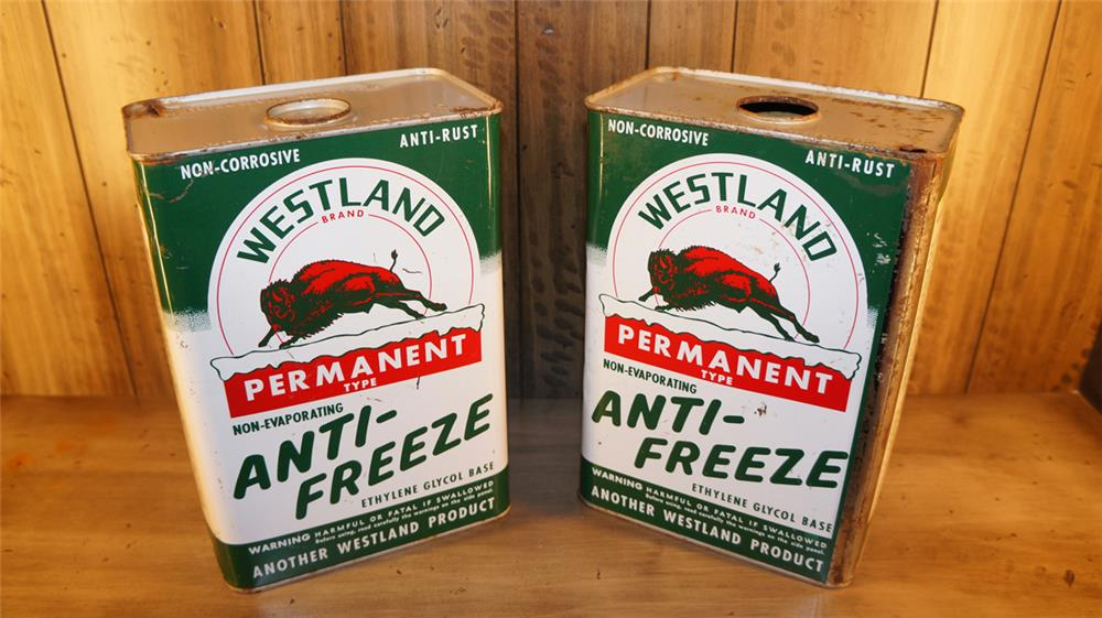 Lot of two Westland Anti-Freeze one gallon tins with Buffalo graphics. - Front 3/4 - 179836