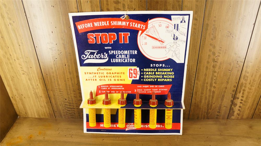 1950's Faber's Speedometer Cable Lubricator service station display found new and unused. - Front 3/4 - 179839