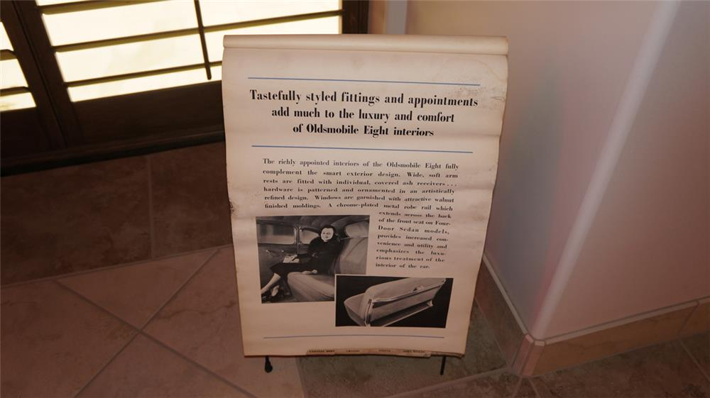 1935 Oldsmobile Showroom Sales display flipboard of accessories and specifications. - Front 3/4 - 179843