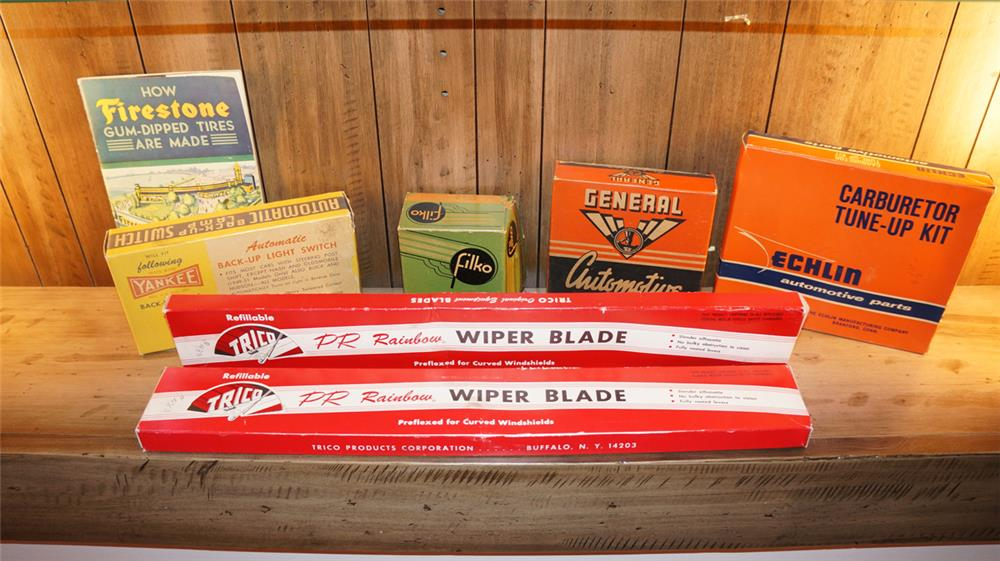 Large lot of 1930's-50's Automotive garage N.O.S. product display boxes. - Front 3/4 - 179844