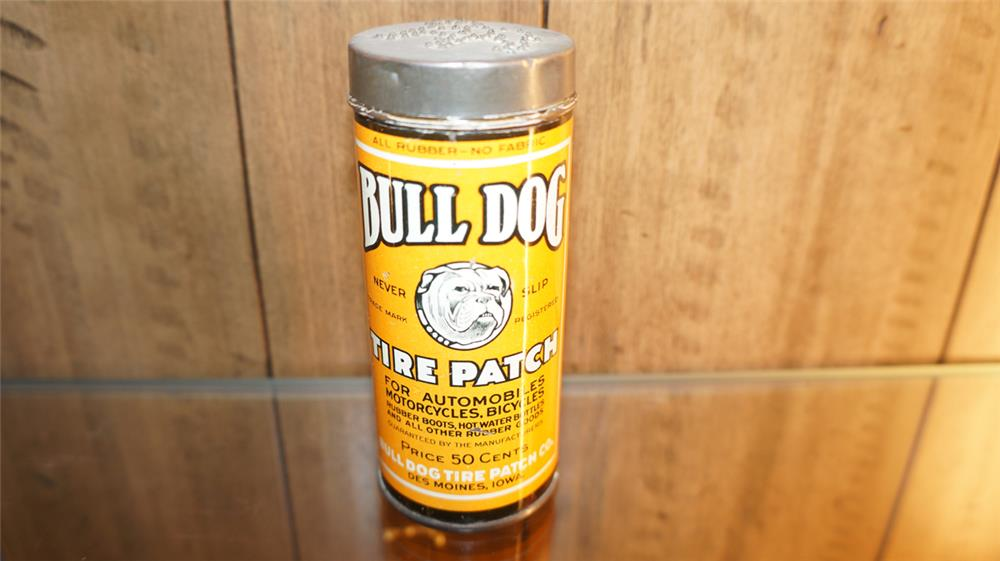 1920's Bull Dog Tire Patch tin with nice graphics. - Front 3/4 - 179848