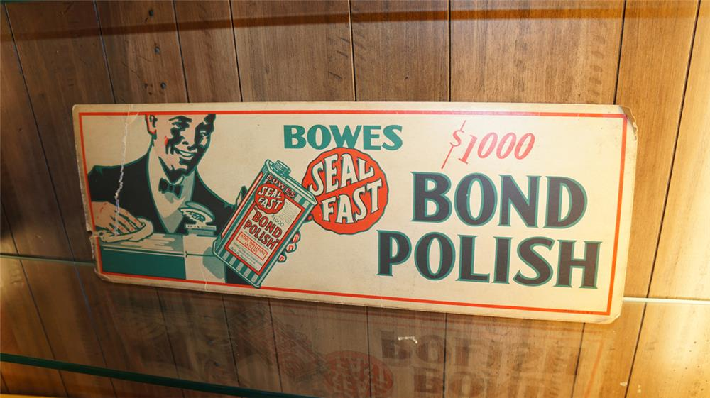 Choice 1920's Bowes Automotive Bond Polish filling station display cardboard with nice graphics. - Front 3/4 - 179851