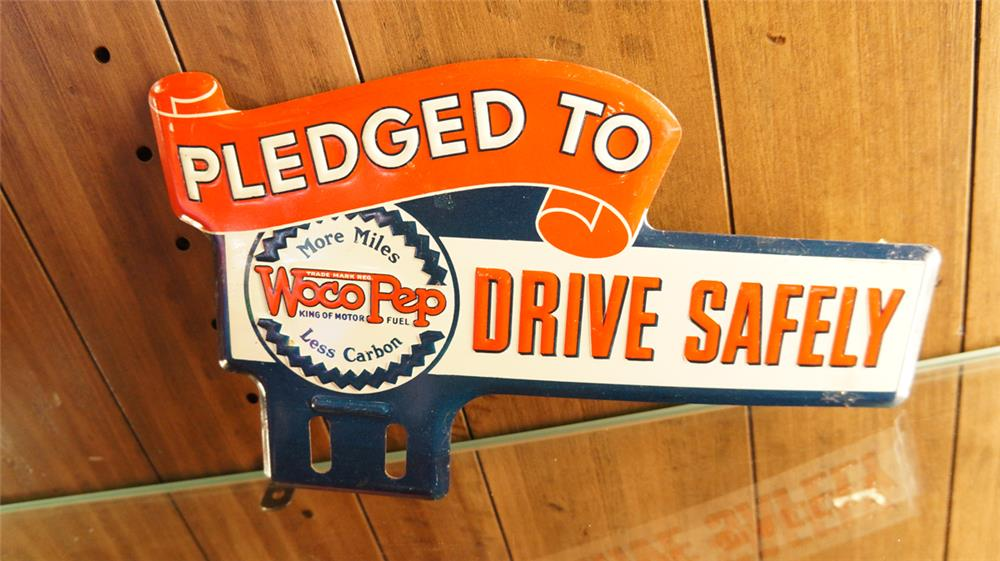 N.O.S. 1930's Woco Pep tin license plate attachment sign. - Front 3/4 - 179856