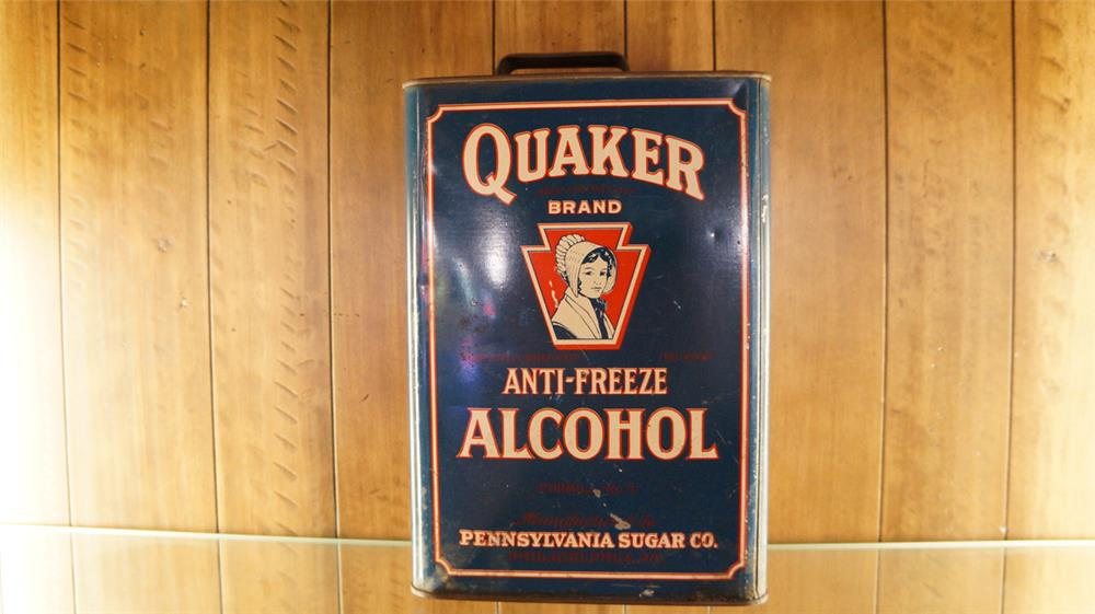 1930's Quaker Anti-Freeze solder seamed tin with graphics. - Front 3/4 - 179857