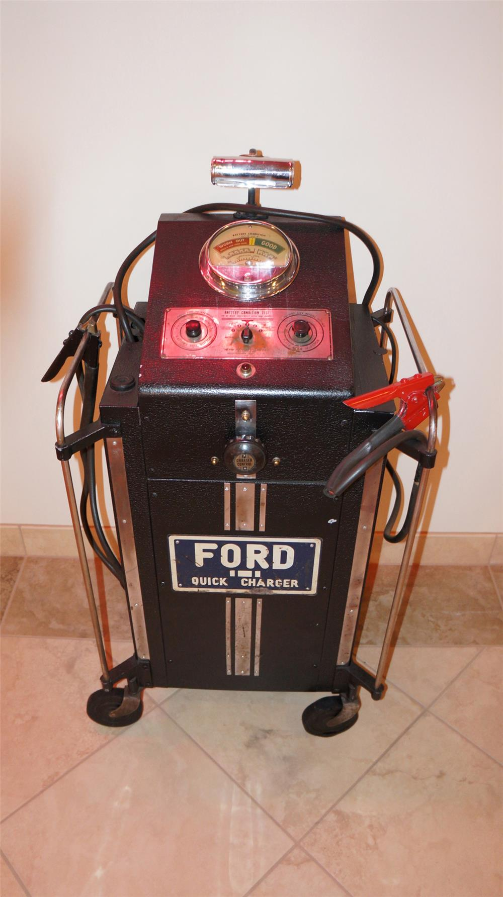 Circa 1940's all original Ford Automobiles dealership quick charger on wheels. - Front 3/4 - 179859