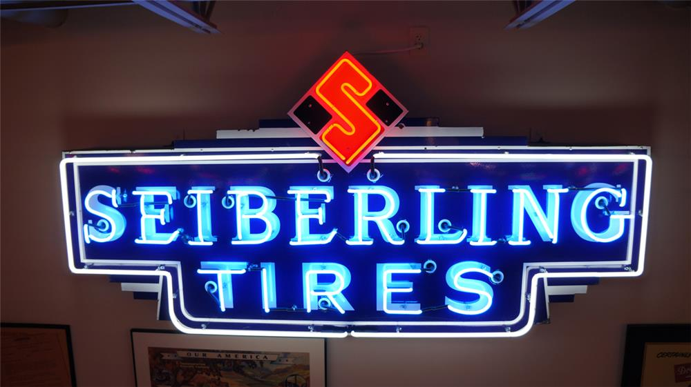 Seiberling Tires single-sided neon porcelain automotive garage sign. - Front 3/4 - 179864