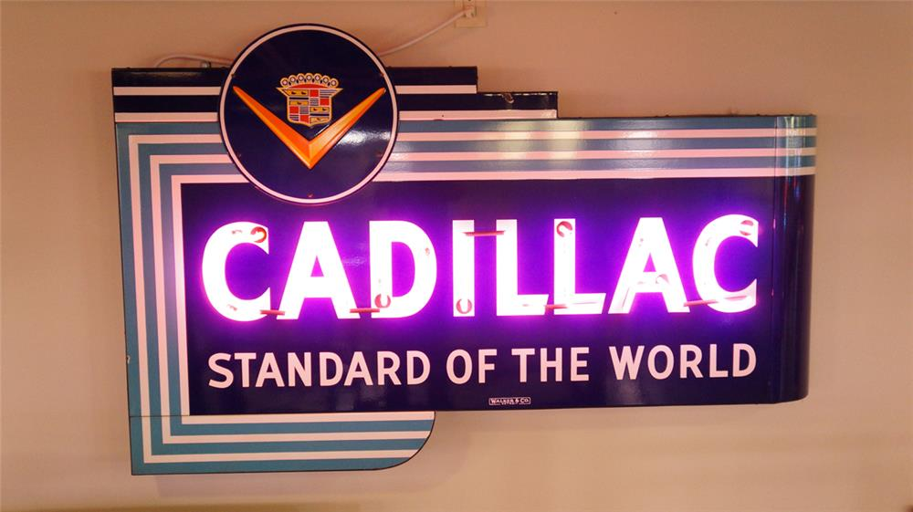 1940's Cadillac Standard of the World single-sided neon porcelain dealership sign. - Front 3/4 - 179867