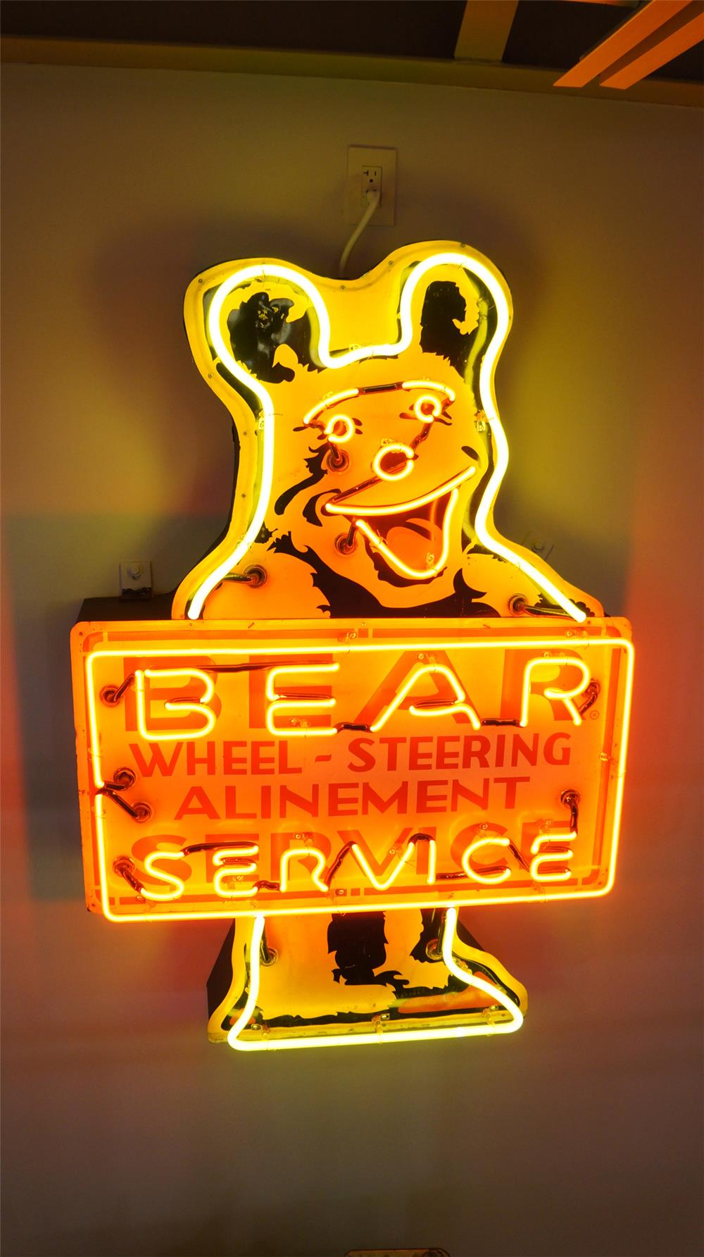 Super Auto Sales >> 1950's Bear Wheel Alignment Service single-sided neon tin ...