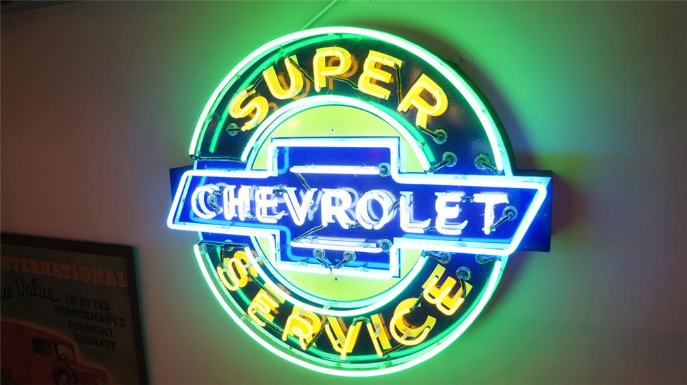 1930's-40's Chevrolet Super Service single-sided neon porcelain dealership sign. - Front 3/4 - 179871