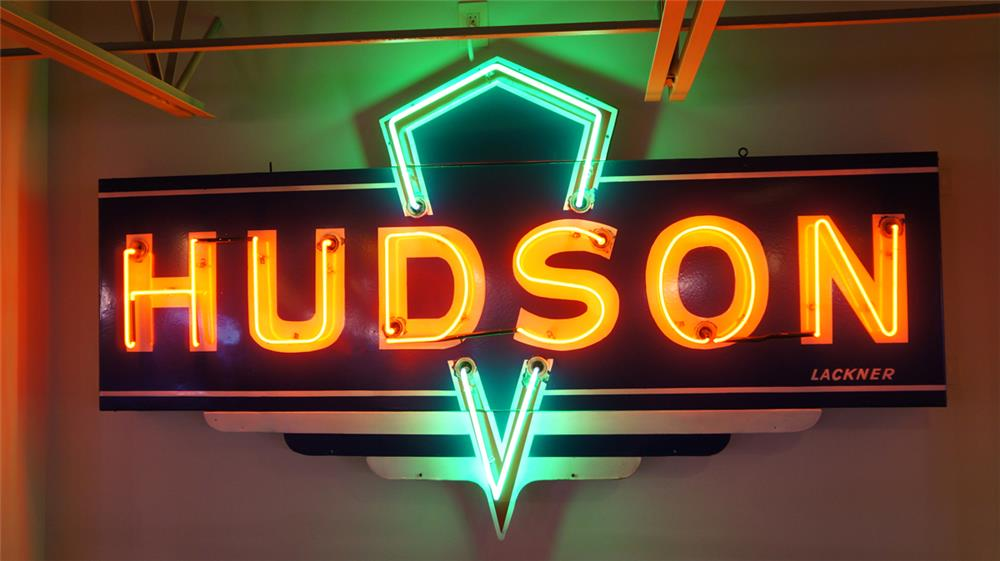 1930's-40's Hudson Automobiles single-sided neon porcelain sign. - Front 3/4 - 179872