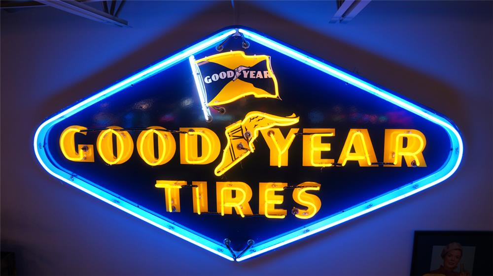 1952 Goodyear Tires single-side neon porcelain dealership sign with flag logo. - Front 3/4 - 179876