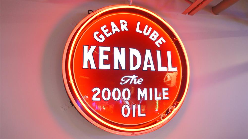 Very rare 1930's-40's Kendall Motor Oil single-sided neon porcelain automotive garage sign - Front 3/4 - 179877