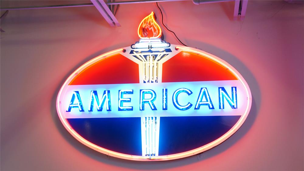 1940's-50's American Gasoline single-sided porcelain with neon service station sign. - Front 3/4 - 179878