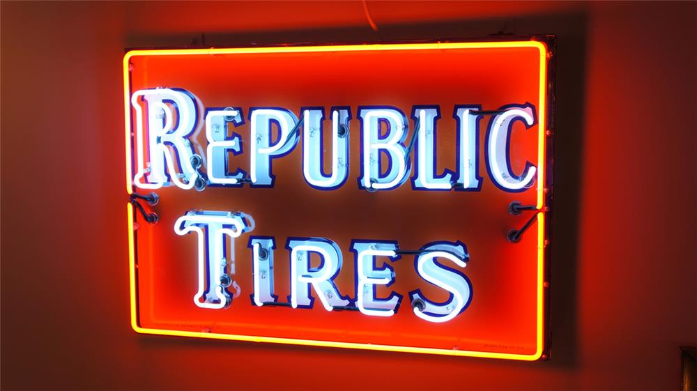 1930's Republic Tires restored single-sided porcelain service station sign - Front 3/4 - 179879