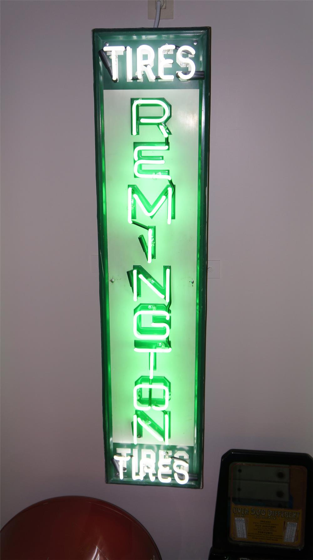 1960's Remington Tires single-sided tin garage sign with neon. - Front 3/4 - 179880