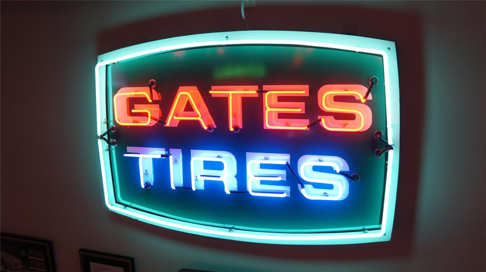 Very clean late 1950's Gates Tires single-sided porcelain automotive garage sign - Front 3/4 - 179881