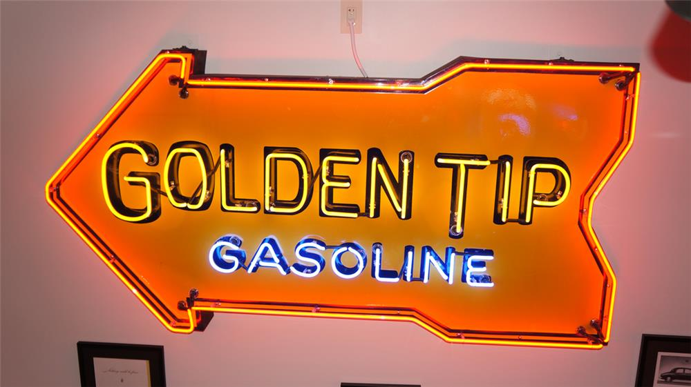 Circa 1930's-40's Golden Tip Gasoline single-sided porcelain with neon service station sign. - Front 3/4 - 179883