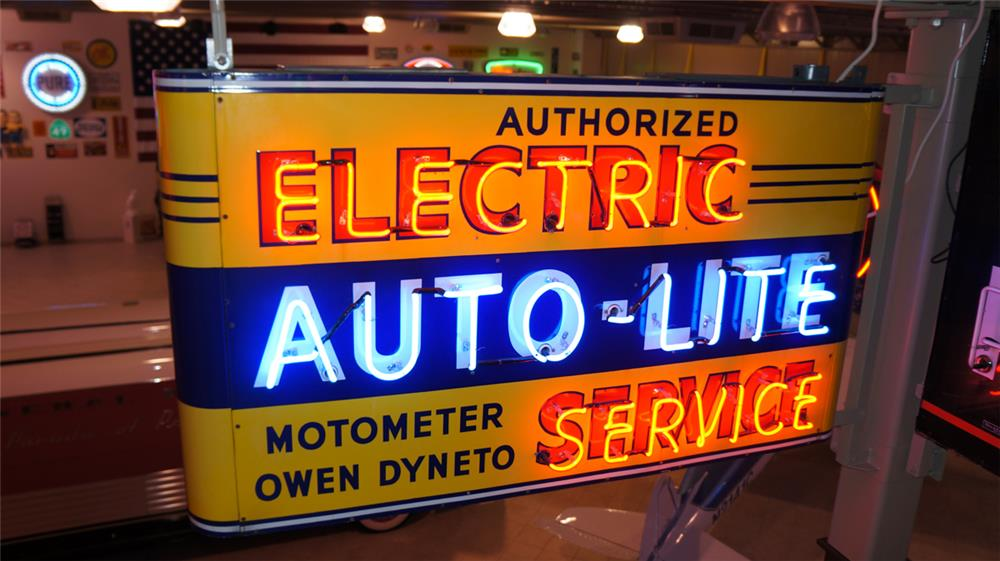 N.O.S. 1940's Auto-Late Automotive Electric Service double-sided neon porcelain dealership sign. - Front 3/4 - 179885